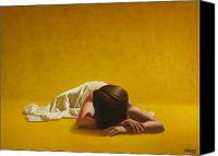 Nude  Canvas Prints - Woman in Yellow Canvas Print by Horacio Cardozo