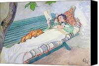 Dog Canvas Prints - Woman Lying on a Bench Canvas Print by Carl Larsson