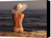 Sun Tan Canvas Prints - Woman on a Beach Canvas Print by Oleksiy Maksymenko