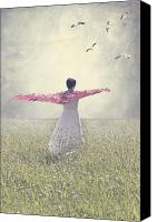 Scarf Photo Canvas Prints - Woman On A Lawn Canvas Print by Joana Kruse