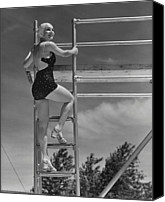 One Piece Swimsuit Canvas Prints - Woman On Diving Board Canvas Print by George Marks