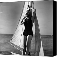 Black And White Yacht Canvas Prints - Woman On Sailing Boat Canvas Print by George Marks