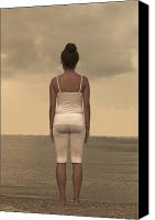 T-shirt Canvas Prints - Woman On The Beach Canvas Print by Joana Kruse