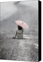 Umbrella Canvas Prints - Woman On The Street Canvas Print by Joana Kruse