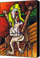 Bold Colors Painting Canvas Prints - Woman on Wooden Chair Canvas Print by Kamil Swiatek