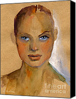 Person Drawings Canvas Prints - Woman portrait sketch Canvas Print by Svetlana Novikova