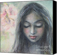 Austin Mixed Media Canvas Prints - Woman praying meditation painting print Canvas Print by Svetlana Novikova