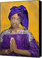 Airbrush Art Digital Art Canvas Prints - Woman Praying Canvas Print by Vannetta Ferguson