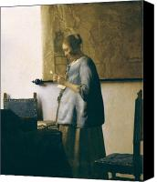 Reading Painting Canvas Prints - Woman Reading a Letter Canvas Print by Jan Vermeer