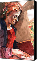 Reading Painting Canvas Prints - Woman Reading Canvas Print by Ellen Dreibelbis