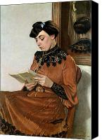 Sat Canvas Prints - Woman Reading Canvas Print by Felix Edouard Vallotton