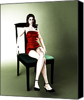 Figure Pose Canvas Prints - Woman Sitting, Computer Artwork Canvas Print by Christian Darkin