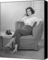 Talking Canvas Prints - Woman Sitting On Armchair, Talking On Phone, (b&w), Canvas Print by George Marks