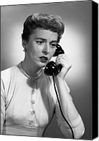 Talking Canvas Prints - Woman Talking On Phone In Studio, (b&w) Canvas Print by George Marks