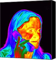 Talking Canvas Prints - Woman Using A Mobile Phone, Thermogram Canvas Print by Dr. Arthur Tucker