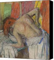 Girls Pastels Canvas Prints - Woman washing her back Canvas Print by Edgar Degas