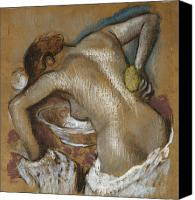 Sensual Pastels Canvas Prints - Woman Washing Her Back with a Sponge Canvas Print by Edgar Degas