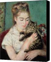 Lady With Cat Canvas Prints - Woman with a Cat Canvas Print by Pierre Auguste Renoir