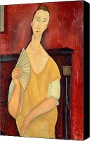 Modigliani Canvas Prints - Woman with a Fan Canvas Print by Amedeo Modigliani