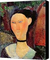 Clemente Painting Canvas Prints - Woman with a Velvet Neckband Canvas Print by Amedeo Modigliani