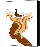 Black Drawings Canvas Prints - Woman with bird Canvas Print by Frank Tschakert