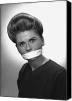 Censorship Canvas Prints - Woman With Covered Mouth In Studio, (b&w), Portrait Canvas Print by George Marks