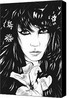 Long Drawings Canvas Prints - Woman with flower Canvas Print by Giuseppe Cristiano