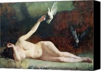 Nudes Canvas Prints - Woman with Pigeons Canvas Print by Ernst Philippe Zacharie