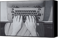 Typewriter Canvas Prints - Womans Hands Over Keys Of Typerwriter Canvas Print by Archive Holdings Inc.