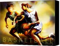 Basketball Canvas Prints - Women in Sports - Basketball Canvas Print by Mike Massengale