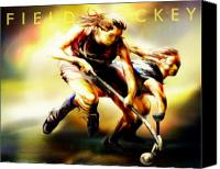Field Digital Art Canvas Prints - Women in Sports - Field Hockey Canvas Print by Mike Massengale