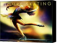 Ice-skating Canvas Prints - Women in Sports - Figure Skating Canvas Print by Mike Massengale