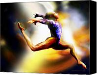 Gymnastics Painting Canvas Prints - Women in Sports - Gymnastics Canvas Print by Mike Massengale