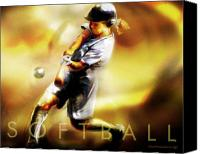 Athlete Canvas Prints - Women in Sports - Softball Canvas Print by Mike Massengale