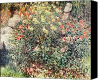 Le Jardin Canvas Prints - Women in the Flowers Canvas Print by Claude Monet
