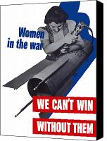 Vintage Canvas Prints - Women In The War Canvas Print by War Is Hell Store