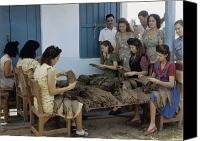 Del Rio Photo Canvas Prints - Women Inspect Tobacco Leaves And Select Canvas Print by Melville B. Grosvenor