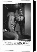 African American Female Canvas Prints - Women Of A New Tribe - Washing Hair Canvas Print by Jerry Taliaferro