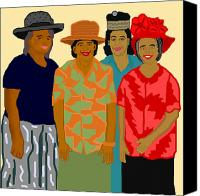 African American Art Drawings Canvas Prints - Women of the Church Canvas Print by Pharris Art