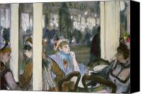 Chat Canvas Prints - Women on a Cafe Terrace Canvas Print by Edgar Degas