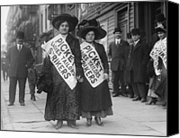 League Photo Canvas Prints - Women Strike Pickets From Ladies Canvas Print by Everett