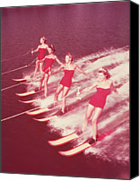 Four Women Canvas Prints - Women Water Skiing Parallel, 1950s Canvas Print by Archive Holdings Inc.