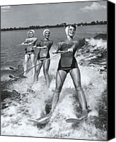 Four Women Canvas Prints - Women Waterskiers In Line (b&w) Canvas Print by Hulton Archive