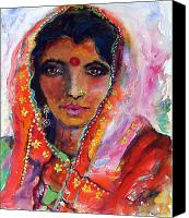 Sari Canvas Prints - Women with Red Bindi by Ginette Canvas Print by Ginette Fine Art LLC Ginette Callaway