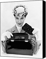 1950s Fashion Canvas Prints - Womens Accessories Include A Square Canvas Print by Everett