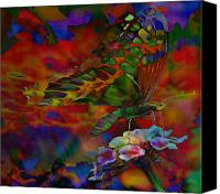 Butterfly On Flower Mixed Media Canvas Prints - Wonderful World Canvas Print by Kevin Caudill