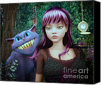 3d Graphic Canvas Prints - Wonderland Alice Canvas Print by Jutta Maria Pusl