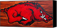Wood Mixed Media Canvas Prints - Woo Pig Sooie Canvas Print by Laura  Grisham