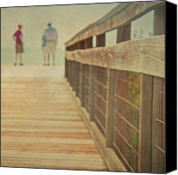 Florida Bridge Photo Canvas Prints - Wood And Mesh Bridge Canvas Print by Lynda Murtha