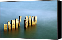 Wooden Post Canvas Prints - Wood In Sea Canvas Print by ICT_Photo